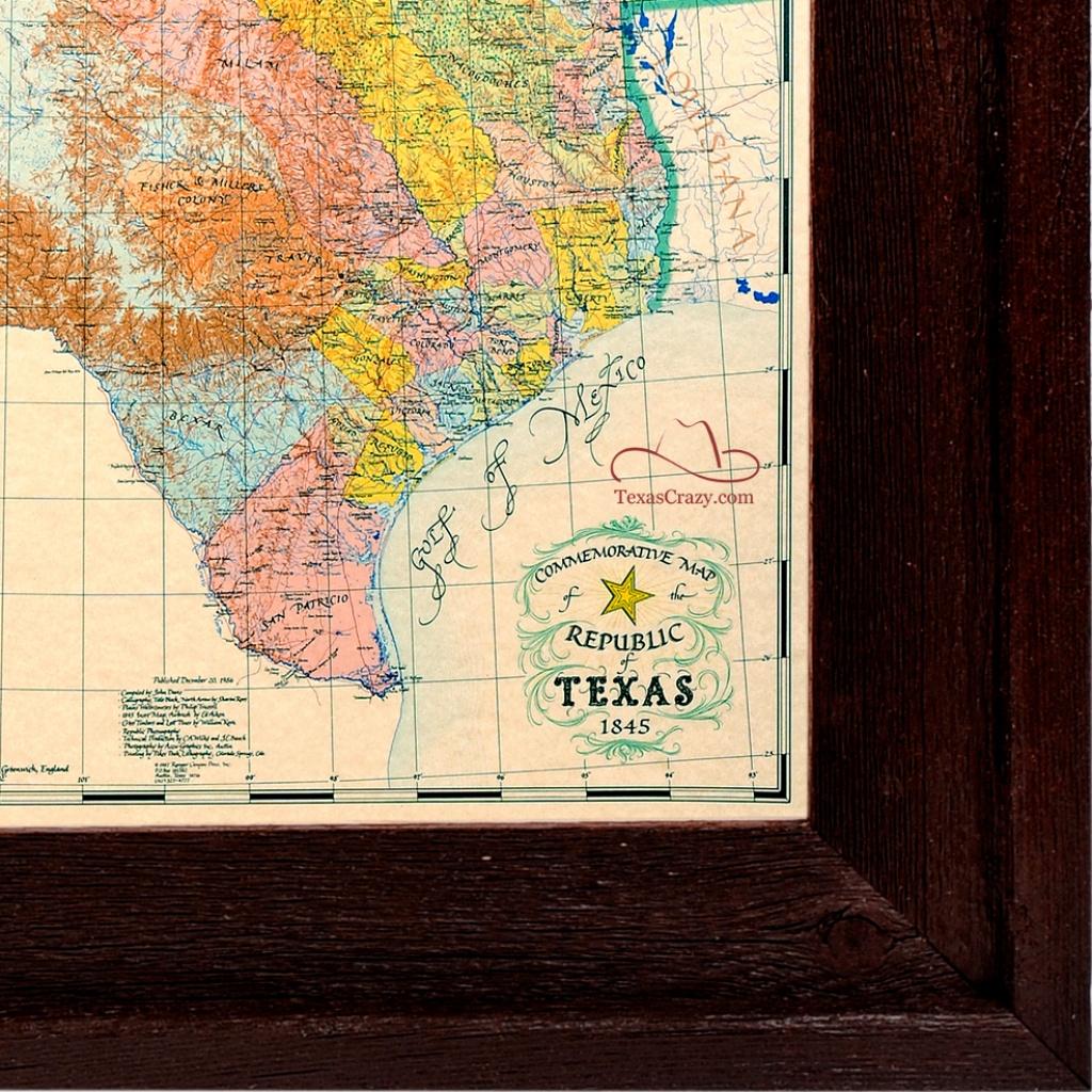 Buy Republic Of Texas Map 1845 Framed - Historical Maps And Flags - Republic Of Texas Map Framed