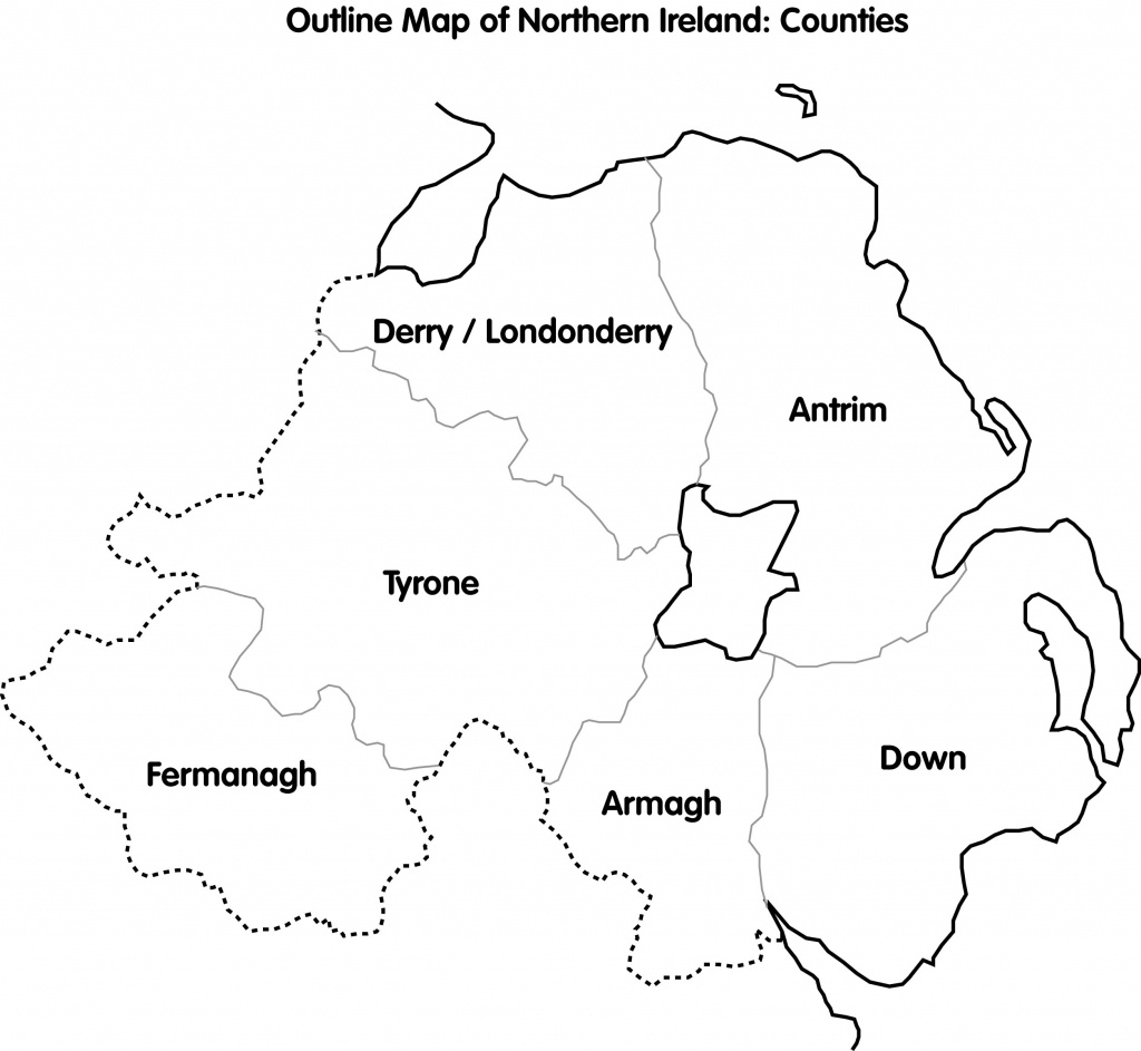Cain: Maps: Outline Map Of Northern Ireland; Counties - Printable Map Of Northern Ireland