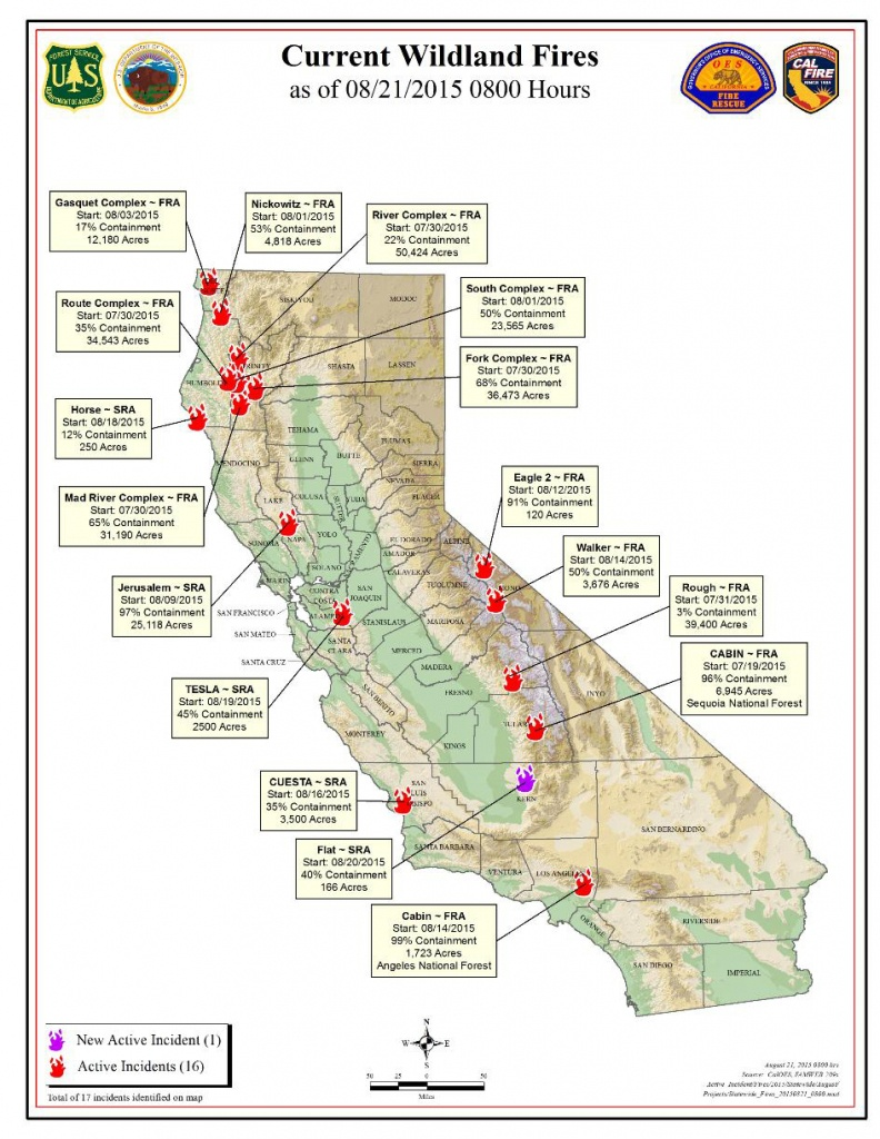 Cal Fire Friday Morning August 21, 2015 Report On Wildfires In - California Active Wildfire Map