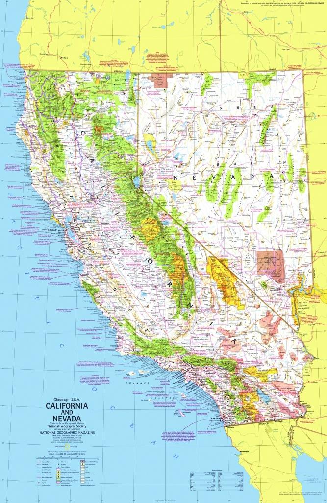 California And Nevada Map 1974 Side 1 - Maps - California Nevada Map