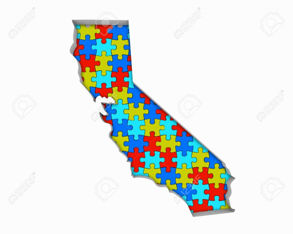 California Ca Puzzle Pieces Map Working Together 3D Illustration - California Map Puzzle
