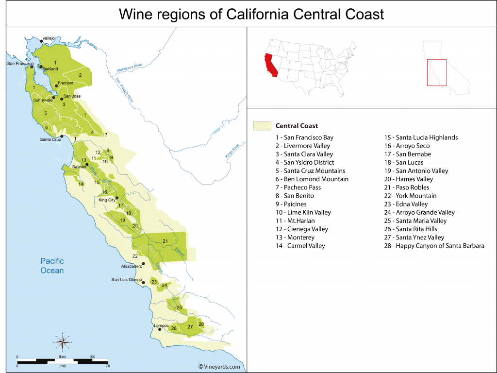 California Central Coast Map Of Vineyards Wine Regions - California Ava Map