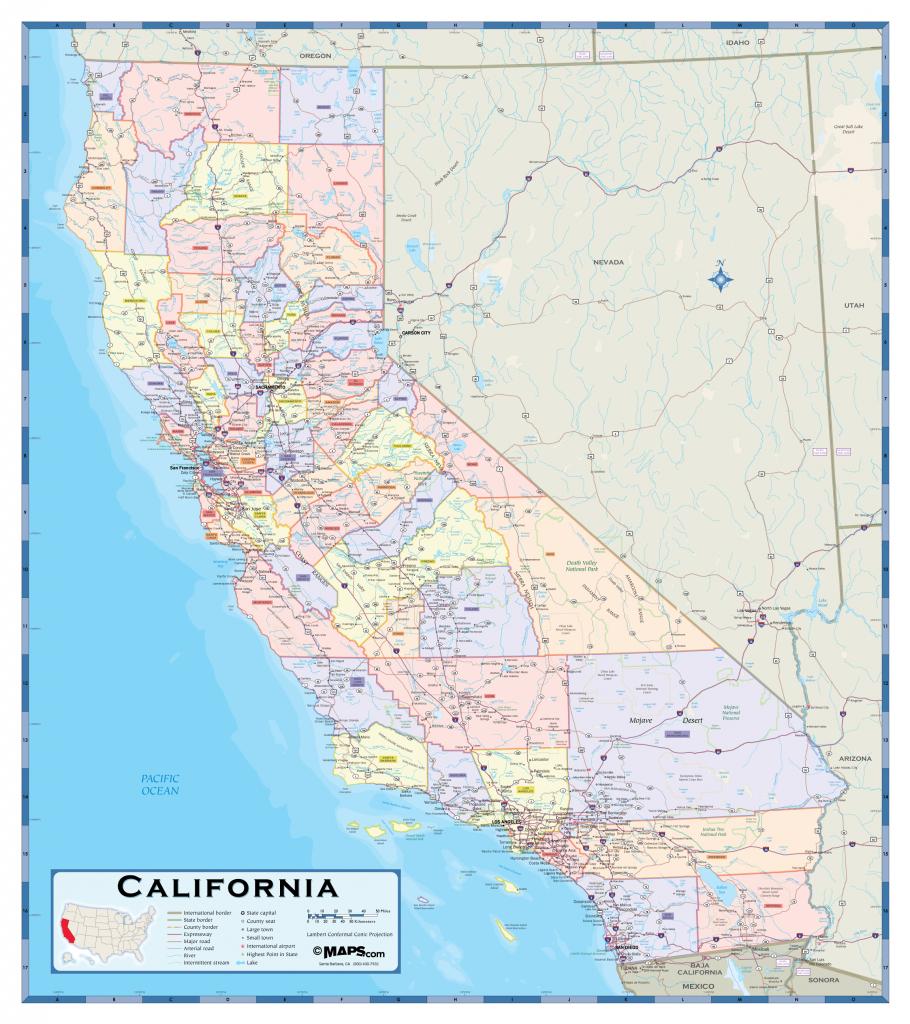 California County Wall Map - Maps - Laminated California Wall Map
