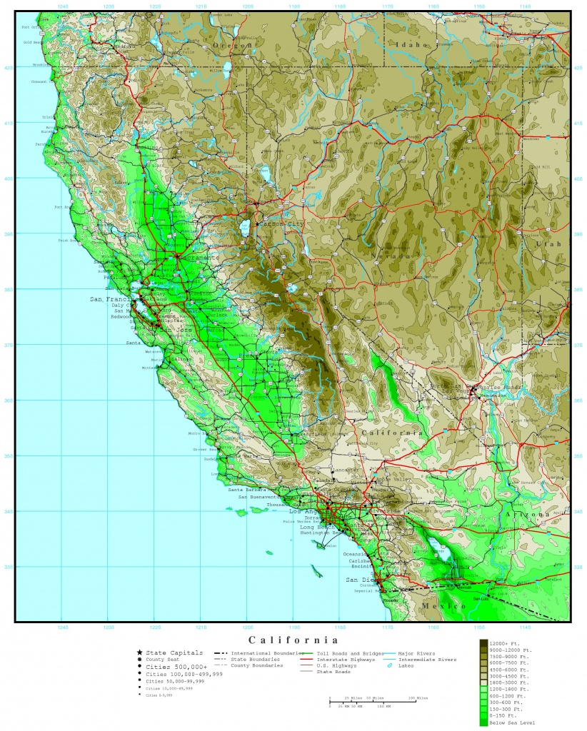 California Elevation Map - National Geographic Topo Maps California