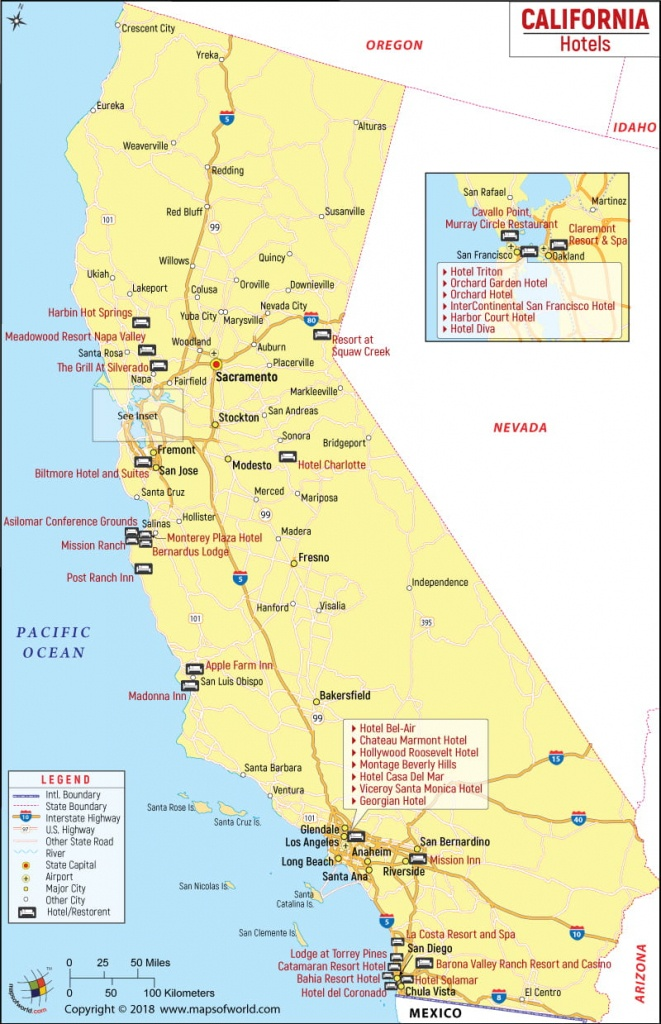 California Hotels Map, List Of Hotels In California - California Hotel Map