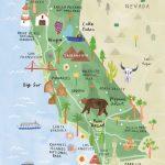 California Illustrated Map   California Print   California Map   Illustrated Map Of California