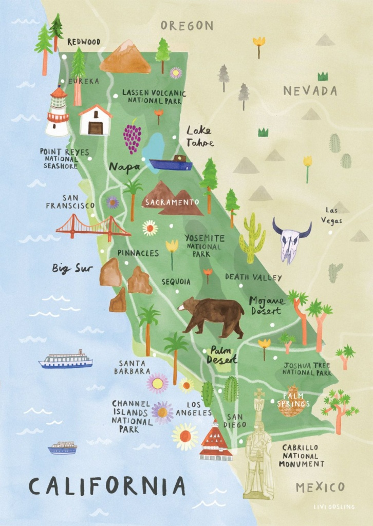 California Illustrated Map - California Print - California Map - La Costa California Map