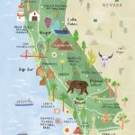 California Illustrated Map - California Print - California Map - Southern California National Parks Map