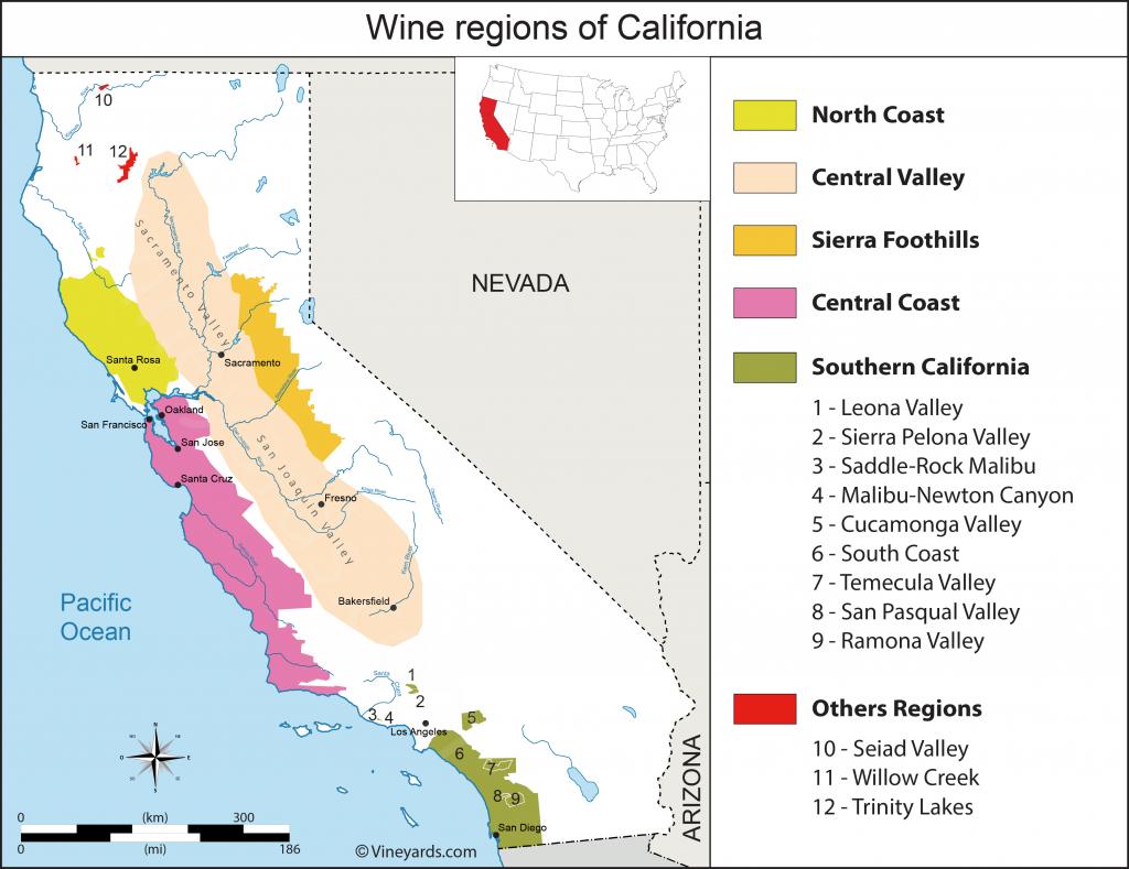 California Map Of Vineyards Wine Regions - Wine Country Map Of California