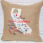 California Map Pillow California Burlap Pillow Burlap | Etsy   California Map Pillow
