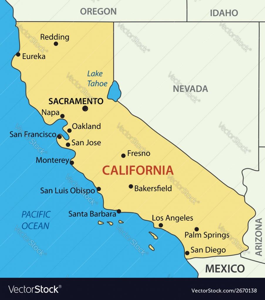 California - Map Royalty Free Vector Image - Vectorstock - Lake Tahoe California Map