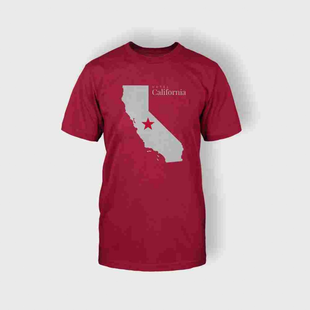 California Map T-Shirt (Red) - Mairie De Combleux - California Map Shirt