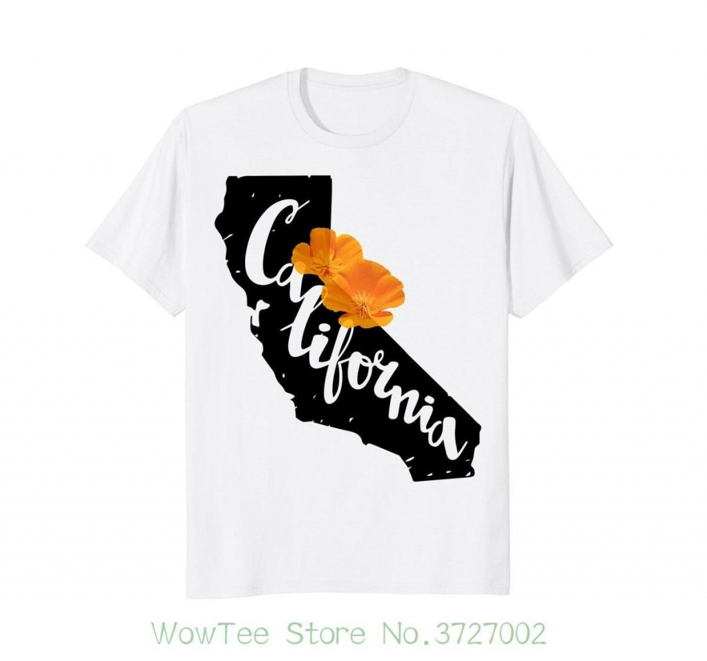 California Map With California Poppy Flower T Shirt Summer Short - California Map Shirt