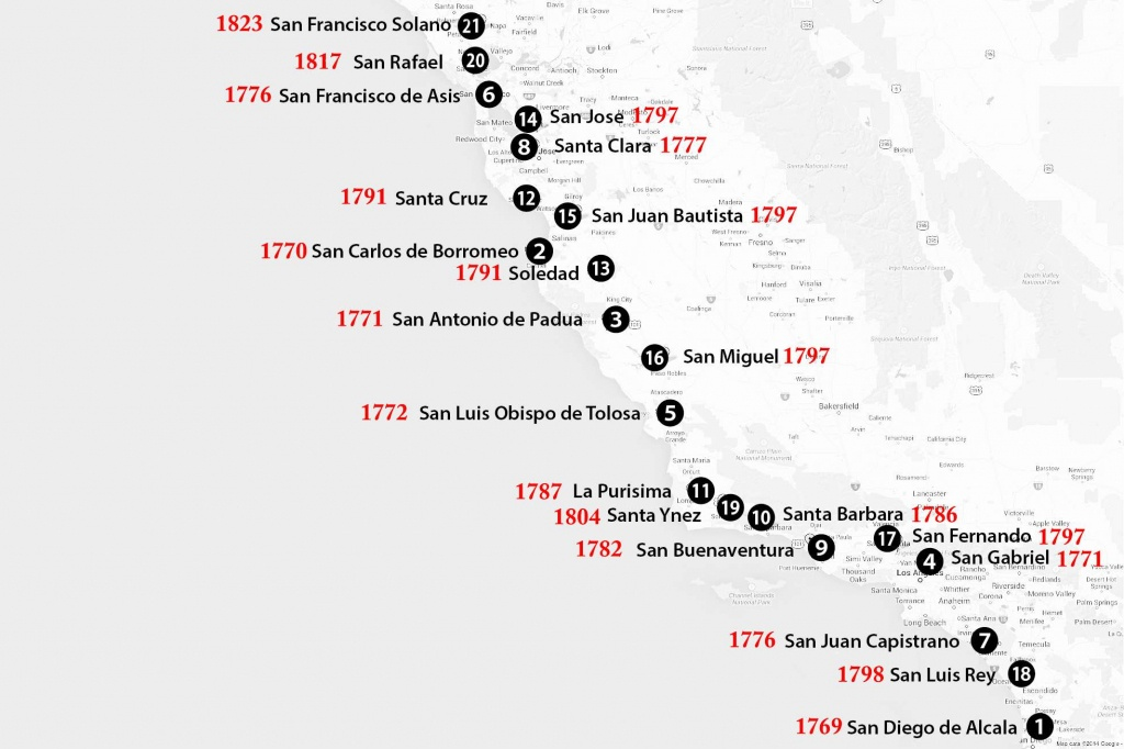 California Missions Map: Where To Find Them - California Missions Map Printable