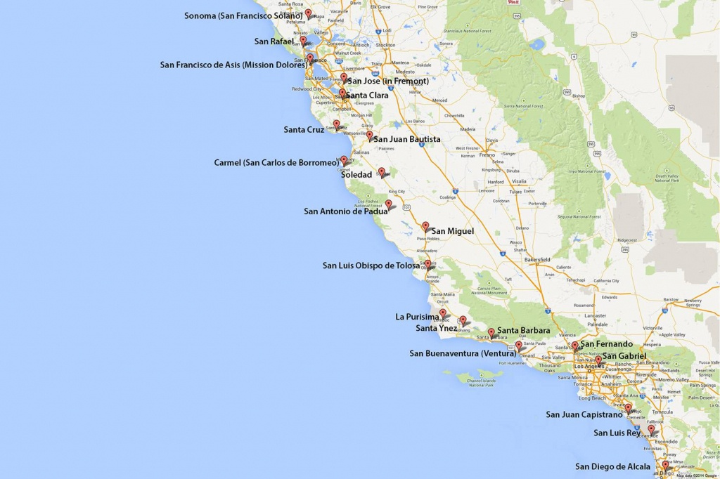 California Missions Map: Where To Find Them - Highway 101 California Map