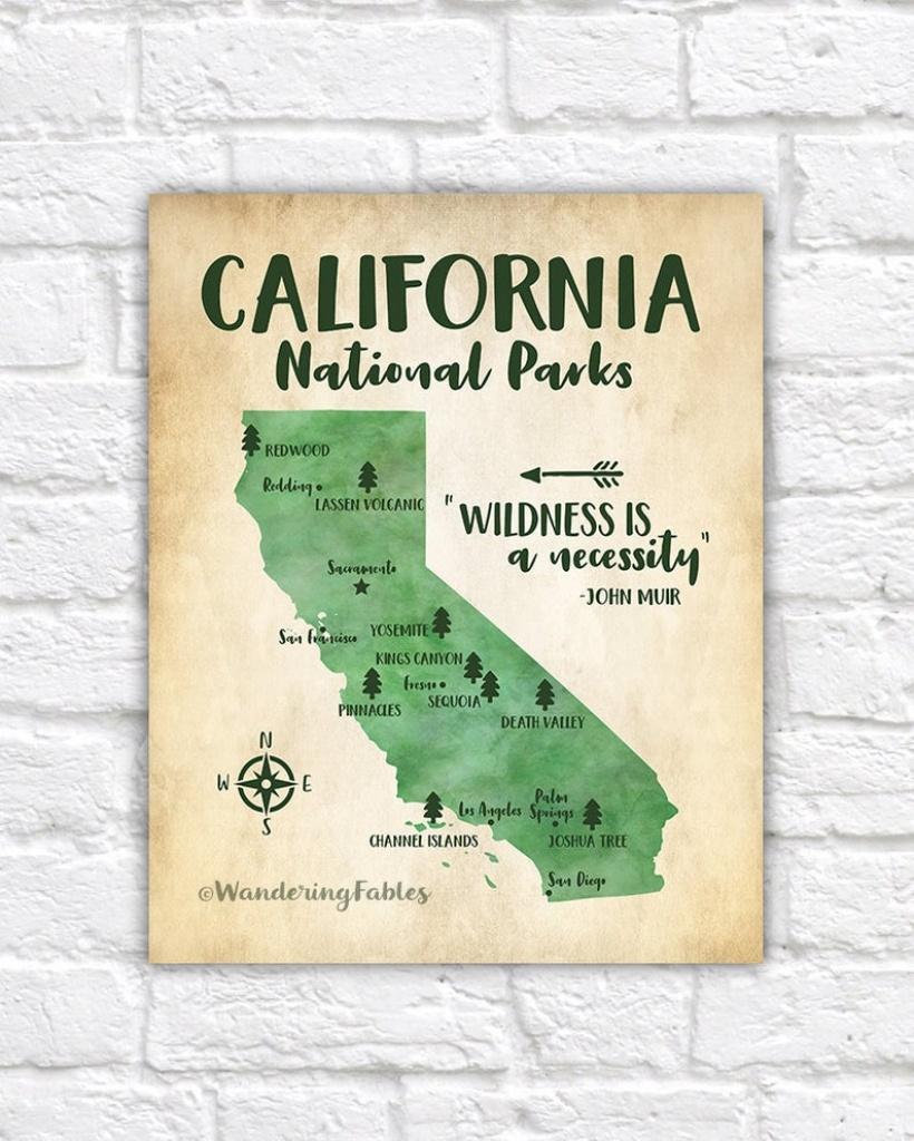 California National Parks Map Adventure Travel Mountains | Etsy - California National Parks Map