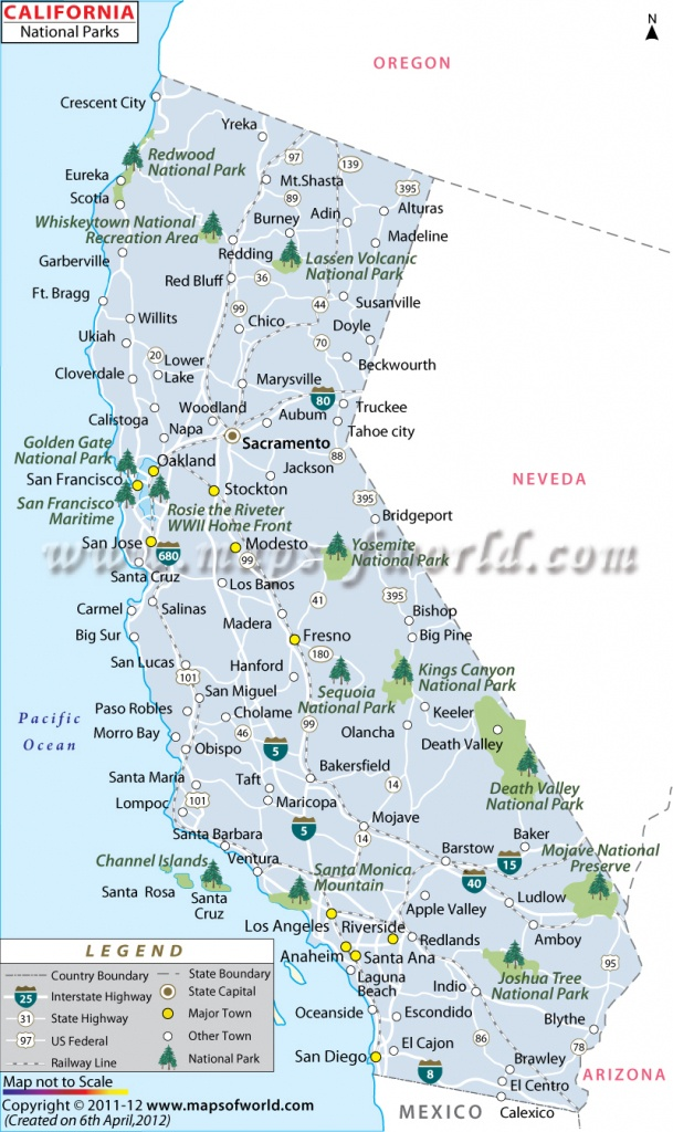 California National Parks Map, List Of National Parks In California - California National Parks Map