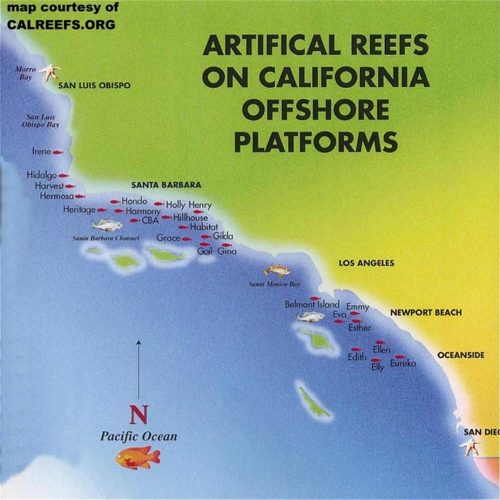 California Offshore Oil Rig Map - California Ocean Fishing Map