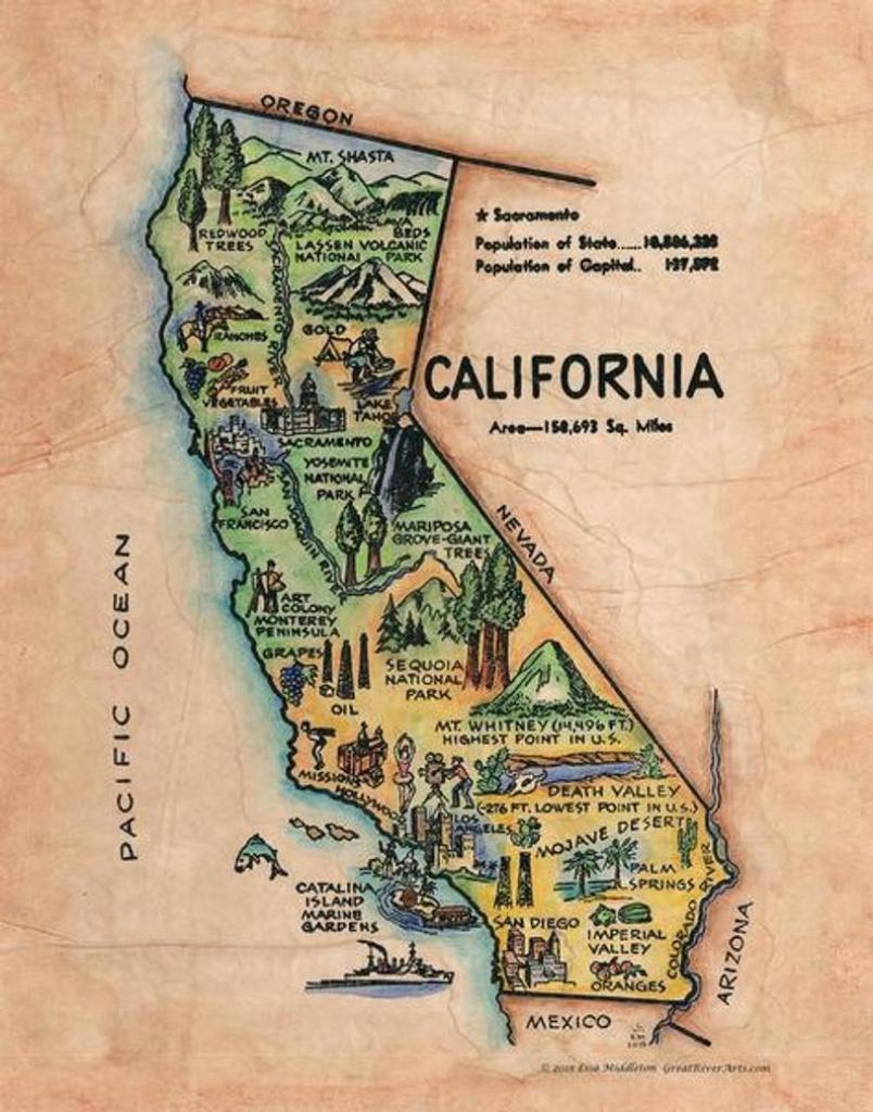 California Old California Map Kid's Retro Map | Etsy - Old California Map