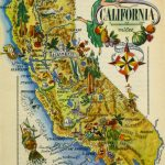 California Pictorial Map, 1946   Vintage California Map