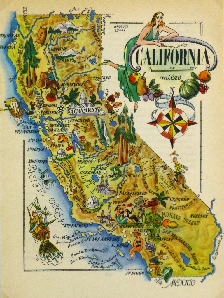California Pictorial Map, 1946 - Vintage California Map