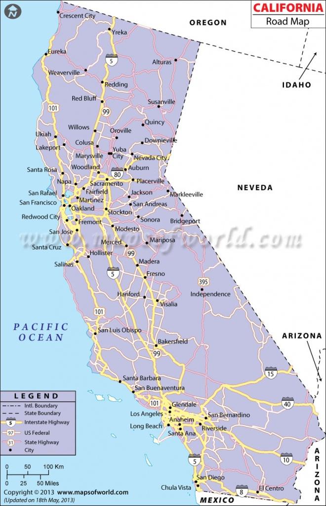California Road Map, California Highway Map - California Coast Map 101