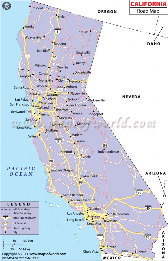 California Road Map, California Highway Map - California Interstate Highway Map