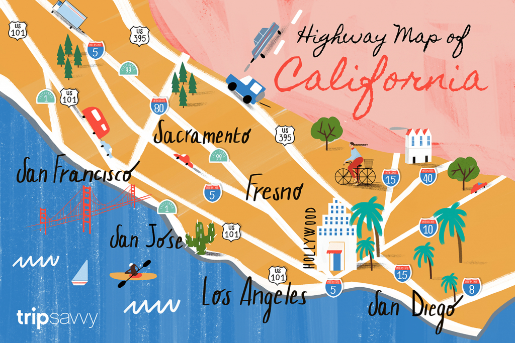 California Road Map - Highways And Major Routes - Driving Map Of California With Distances