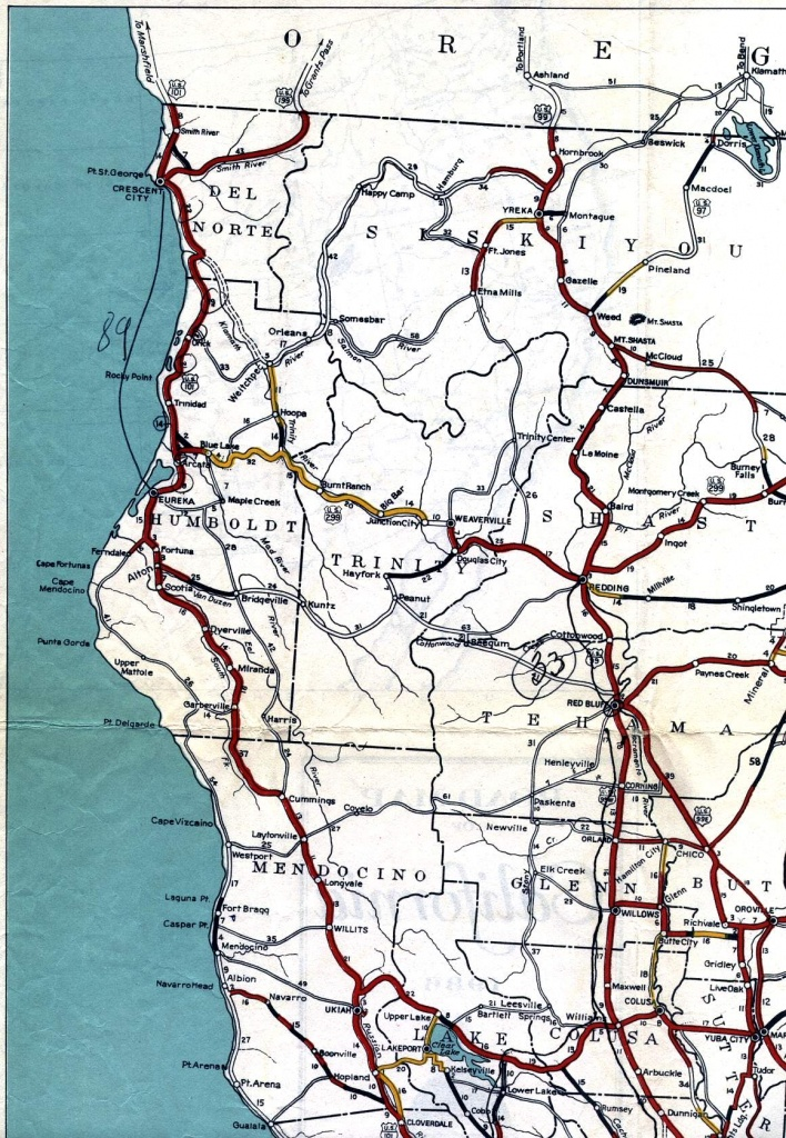California Road Signs And Sights Gallery: Section Of 1936 Official - Northwest California Map