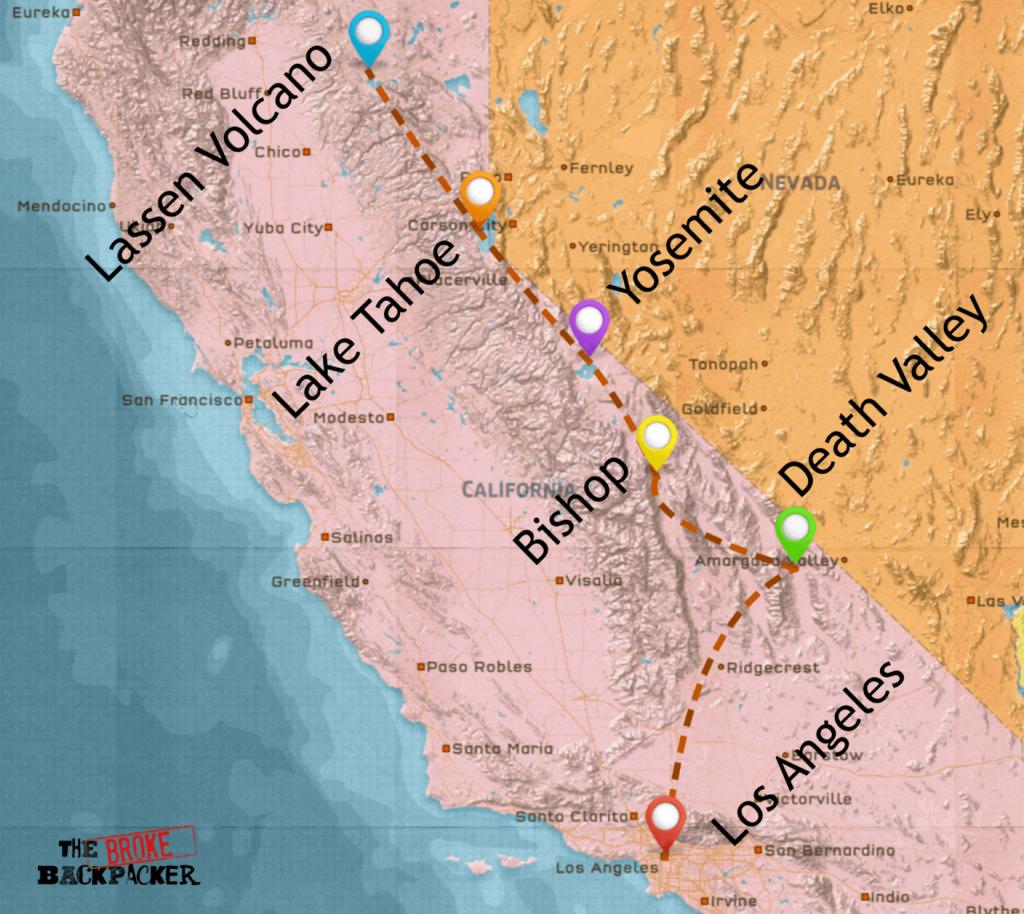 California Road Trip • Epic Budget Guide (July 2019) - California Road Trip Map