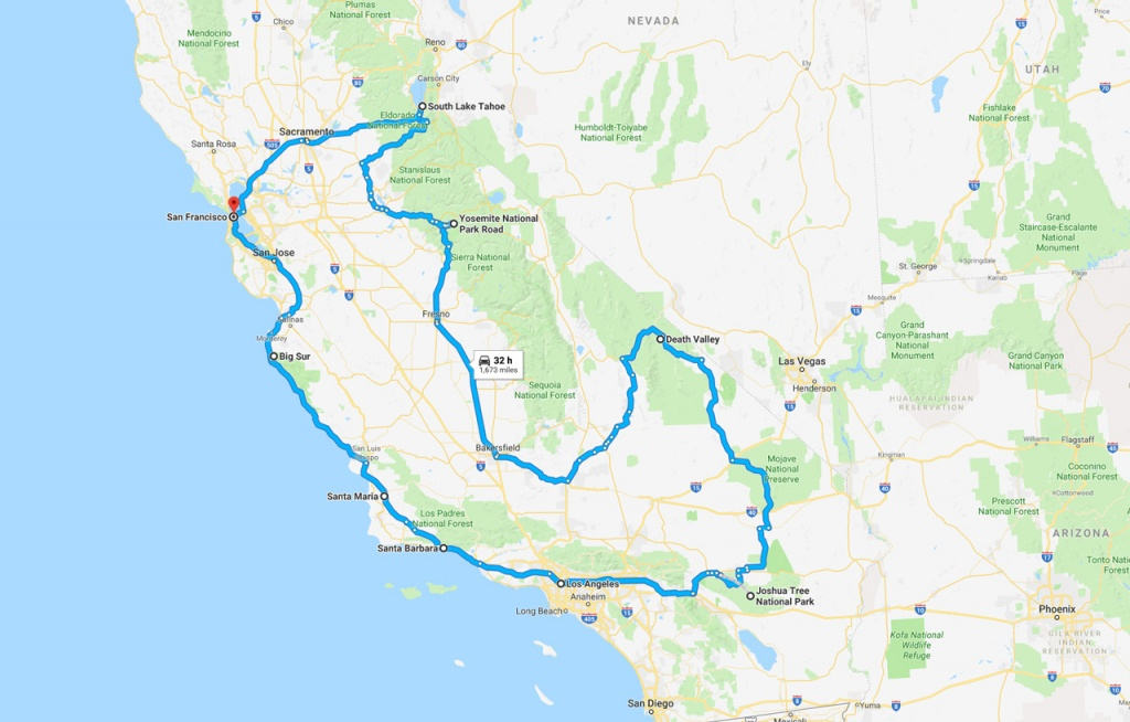 California Road Trip - The Perfect Two Week Itinerary | The Planet D - California Road Trip Trip Planner Map