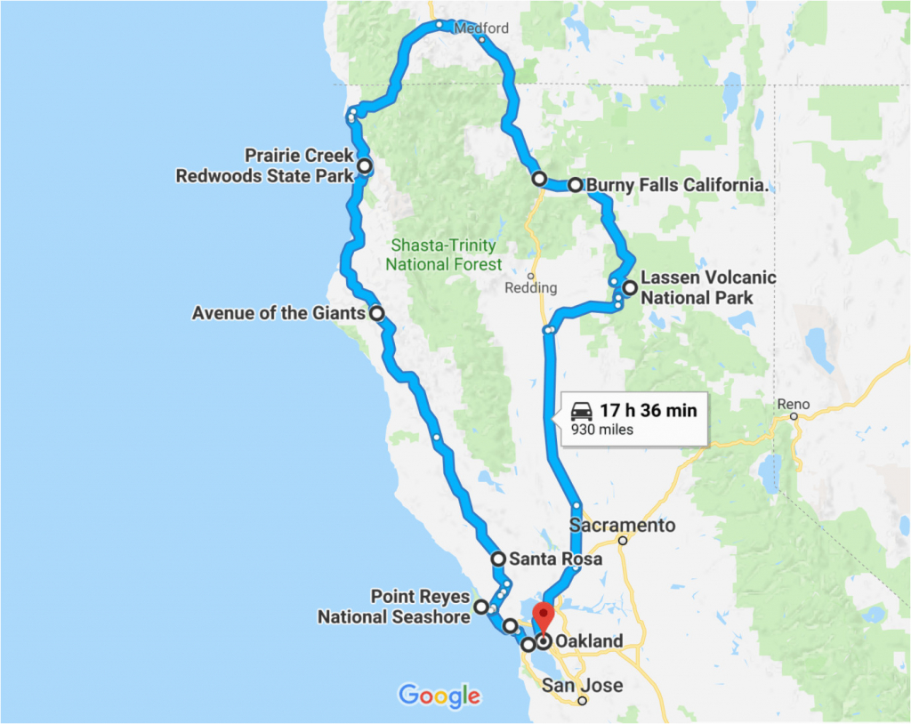 California Road Trip Trip Planner Map The Perfect Northern - California Road Trip Trip Planner Map