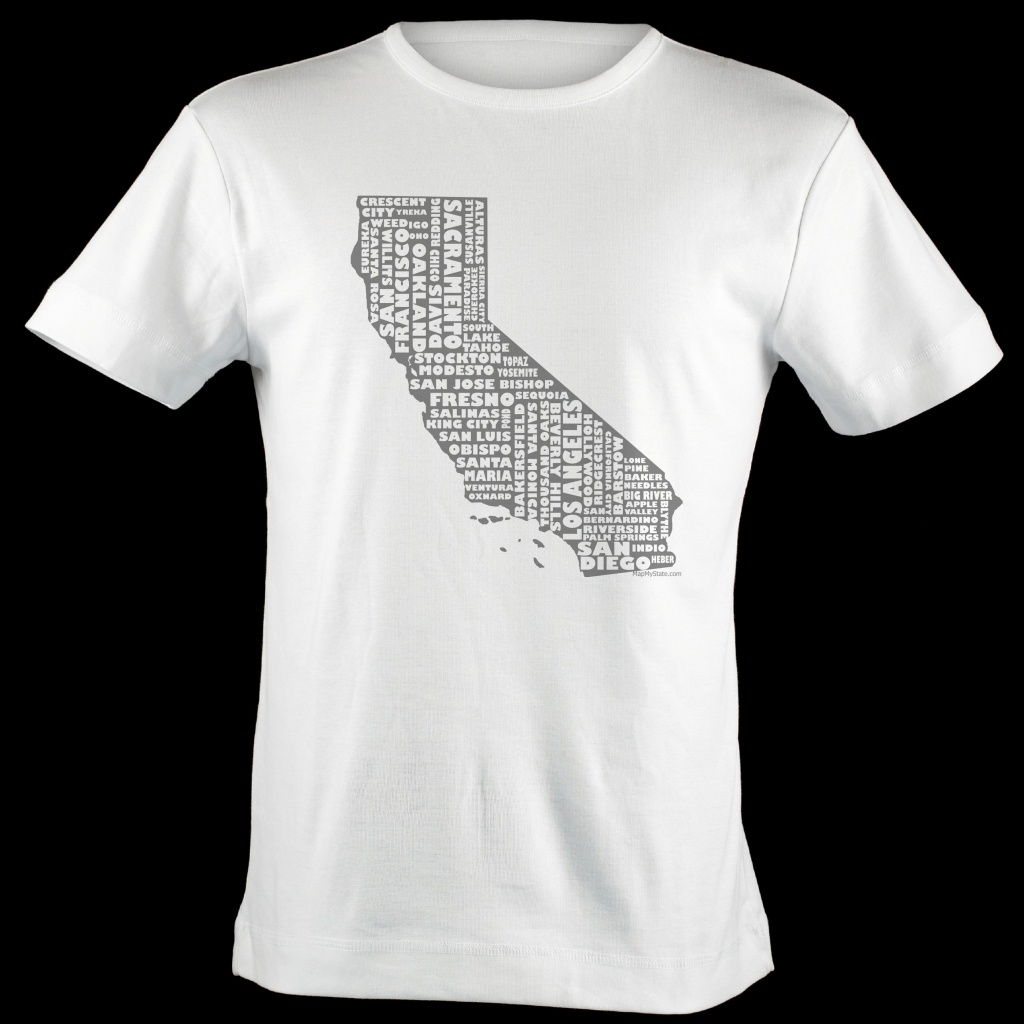 California Shirt Map Art | California Typography Map T-Shirt - California Map Shirt