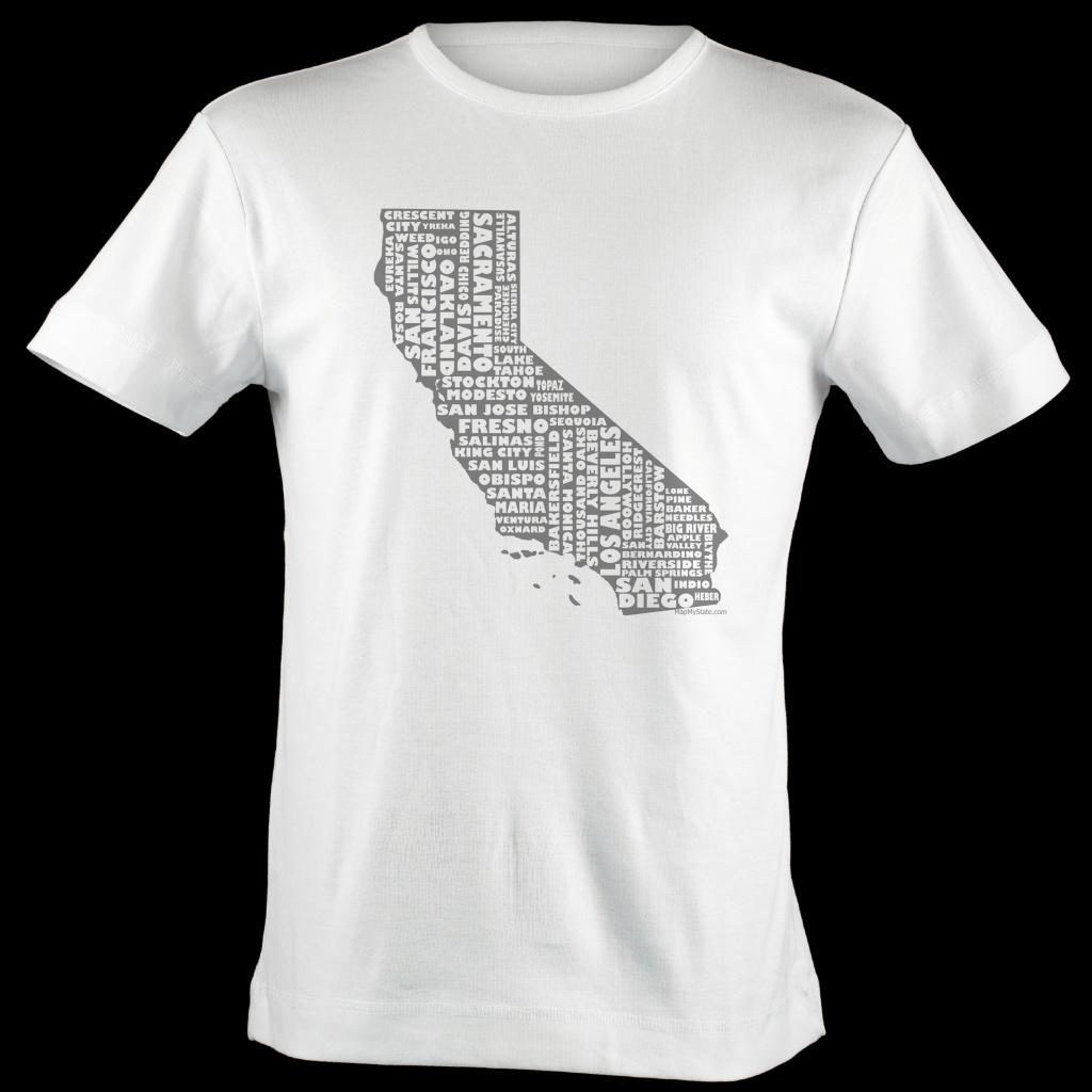 California Shirt Map Art   California Typography Map T-Shirt - California Map T Shirt