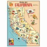 California Sightseeing Map Vintage Style Poster D At Retro Planet   California Tourist Map