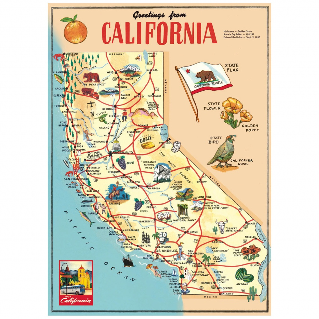 California Sightseeing Map Vintage Style Poster_D At Retro Planet - California Tourist Map