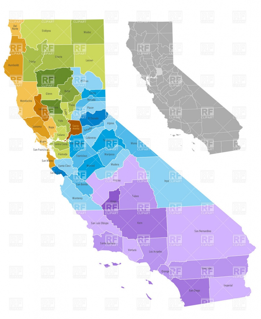 California State Counties Map With Boundaries And Names Vector Image - Free State Map California