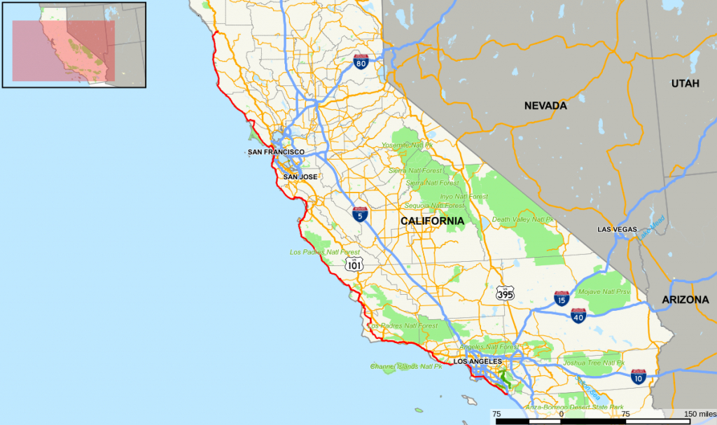 California State Route 1 - Wikipedia - California Highway Map