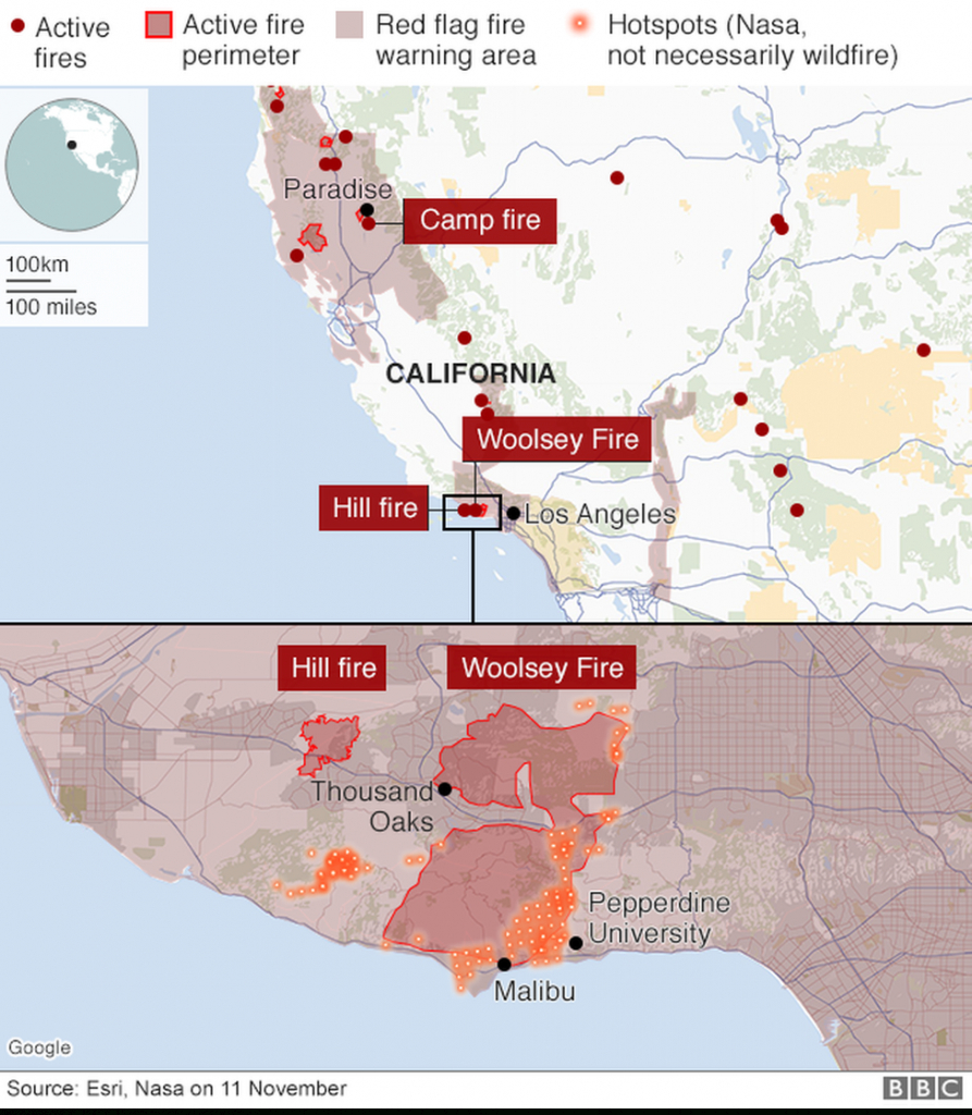 California Wildfires: Fears Of Further Damage As Winds Strengthen - Where Are The Fires In California On A Map