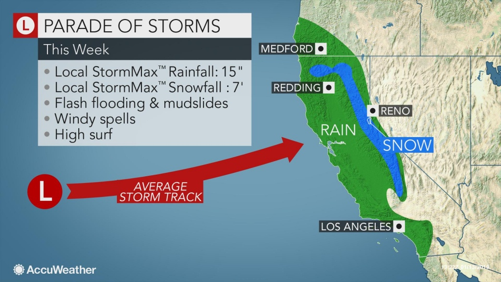 Californians To Face Relentless Wet, Snowy Weather Through The Week - California Weather Map For Today