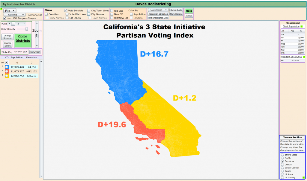 California's Proposed 3 State Initiative With Each New States - New California Map 3 States