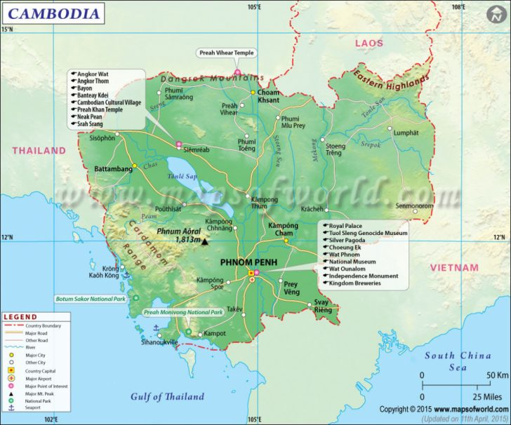 Printable Map Of Cambodia