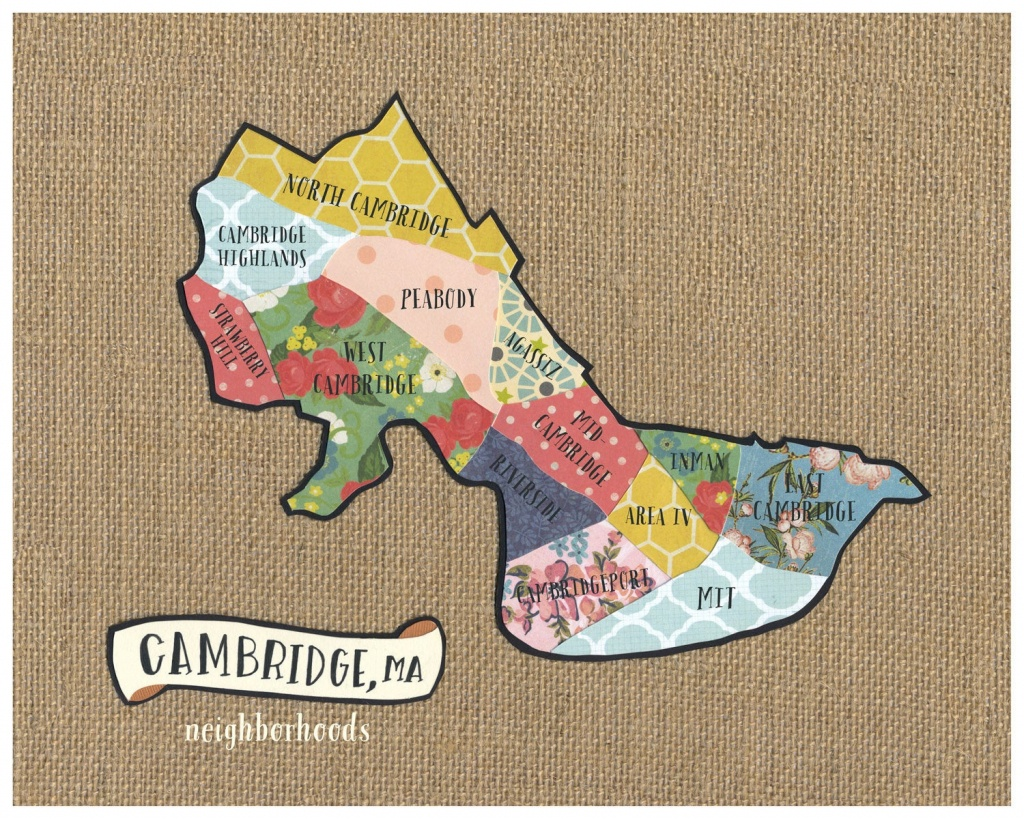 Cambridge Ma Neighborhood Map Original Cut Paper Print Free | Etsy - Printable Map Of Cambridge Ma