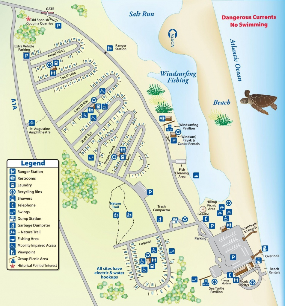 Campground Map Anastasia State Park | Florida | Florida Camping - Florida State Park Campgrounds Map