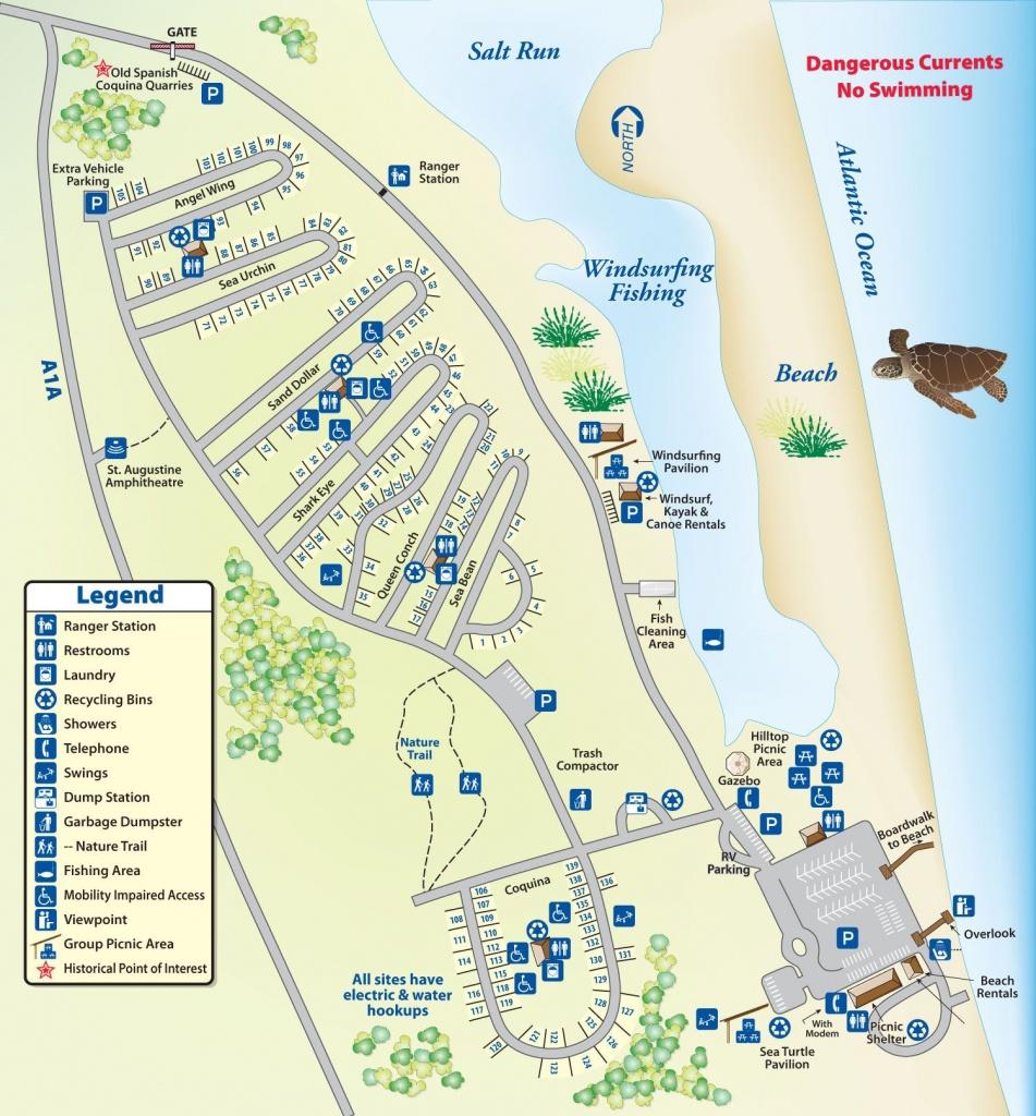 Campground Map Anastasia State Park | Florida In 2019 | Florida - Florida Tent Camping Map