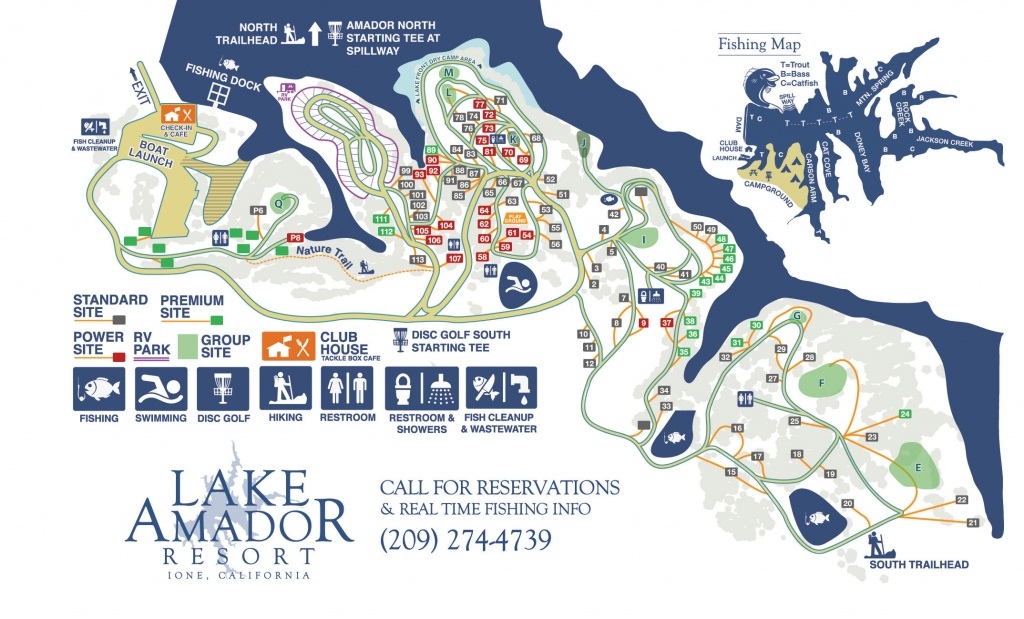 Campground Map – Fishing & Camping In Northern Ca   Lake Amador - California Camping Sites Map