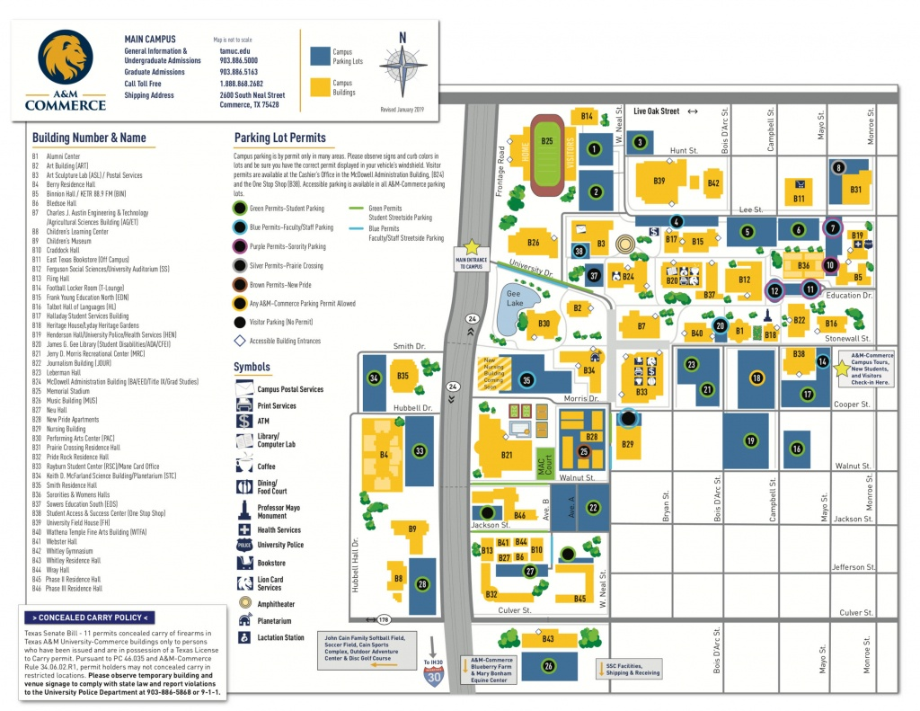 Campus Map - Texas A&m University-Commerce - Texas A&m Football Parking Map
