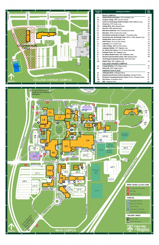 Campus Maps And Directions | Contact Us, University Of Regina - Uf Campus Map Printable