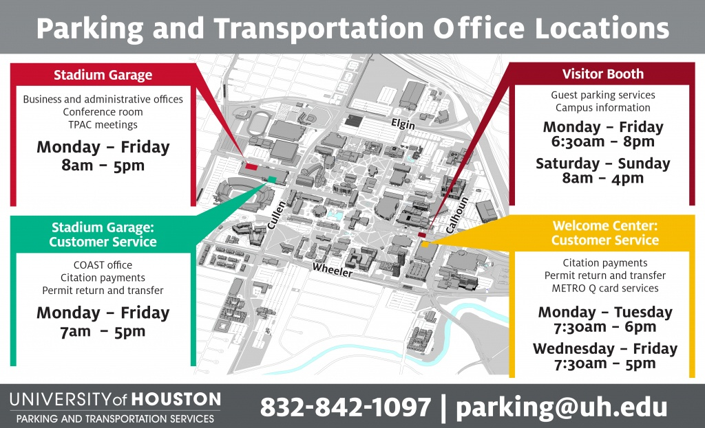 Campus Parking On Game Day - University Of Houston - University Of Texas Football Parking Map 2016