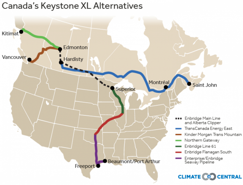 Canada Pushes Ahead With Alternatives To Keystone Xl | Climate Central - Keystone Pipeline Map Texas